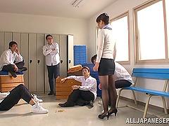 Nao Mizuki shaved pussy gets pounded..