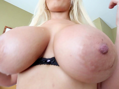Blonde with huge juggs give titjob..