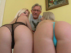 Charming blondes get fucked by an old..