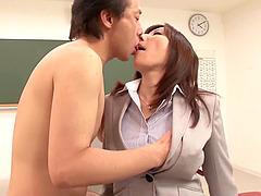 Lewd Japanese teacher enjoys..