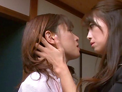 Desirous Asian lesbian moans while..