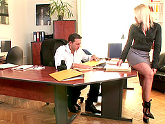 Blonde secretary in high heels..