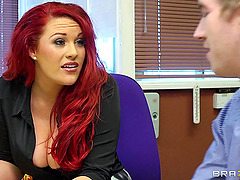Redhead Dame With Big Tits Yells While..