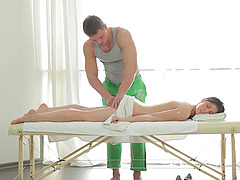 She gets an oily massage then lets him..
