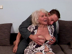 Provocative granny with a hairy pussy..