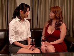 Doting Japanese lesbians in miniskirts..