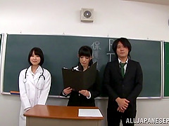 Busty Japanese doctor has hot sex with..