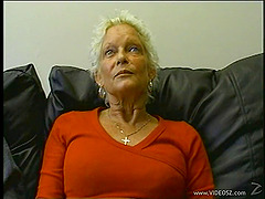 Granny amateur gets on her knees to..