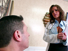 Slutty doctor keeps her stockings on..