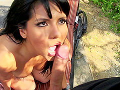 Big dick anal sex outdoors with a..