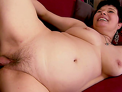 Short Haired Mature Granny Giving a Teen Cock a Hell of a Treat