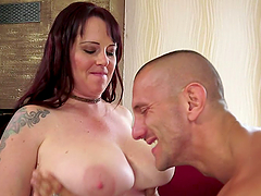 Big Breasted Mature Brunette Loving It..