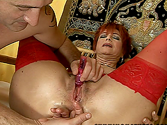 Redhead Granny in Lingerie Getting Her..
