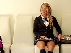 Blonde college babe in black socks..