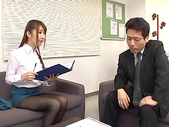Asian office babe shows her natural..