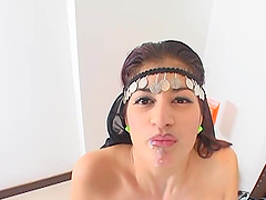 Arab brunette takes cum in mouth after..