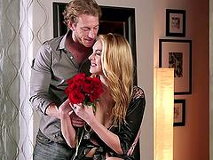 A beautiful blonde has erotic, sensual..
