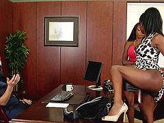 His office heats up as two slutty..