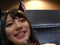 Hot Jav babe with cat ears in cowgirl..