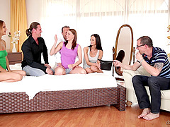 Hot Euro honeys have a wild orgy with..
