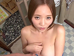 Pretty Japanese chick with huge tits..