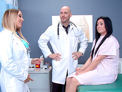 A doctor gives his nurse a deep,..