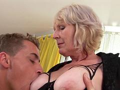 A horny granny gets a nice hard..