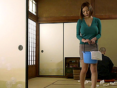 A big titted Japanese maid bounces on..