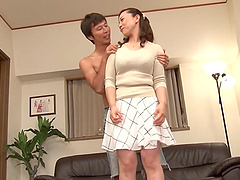 Sexy Japanese milf gets ambushed by..
