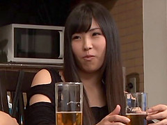 A sexy Japanese housewife has coffee..