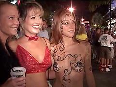 Slutty amateur chicks flash their tits..