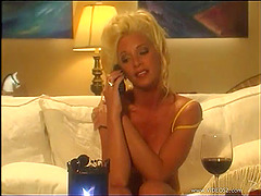 Elegant blonde lesbian in high heels..