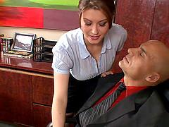 Sara Stone handjobs a huge dick for a..