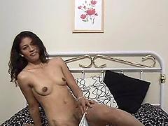 Skinny amateur Latina Roxy masturbates..