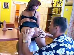 Kinky redhead gets a facial after..