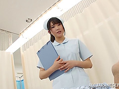 Naughty Japanese nurse in white..