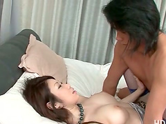 Asian in fishnets gets crampie and a..