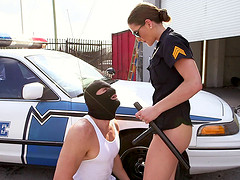 Female cop is hot as hell as she fucks..