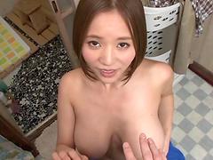 Doting big tit Asian moans at a stiff..