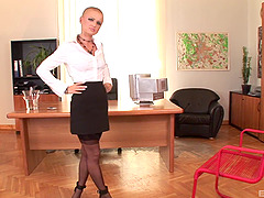 A hot maid with a shaved head cleans..