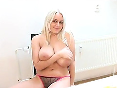 Blond bombshell Pam licks her enormous..