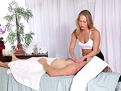 A real blonde masseuse can't resist a..