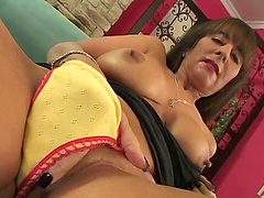 Mature pornstar with big tits fingers..
