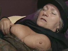 Horny grandma loves to suck off a..