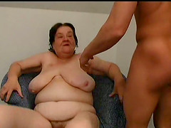 Grandma enjoys a throbbing rod in her..