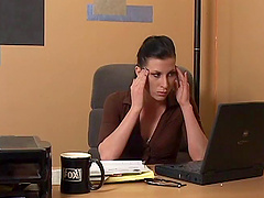 A stressed out boss fingers her hot..