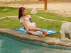 Sweet solo model in a bikini moans as..