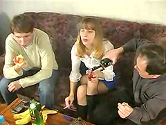 Teen swingers welcome a new guy for a..