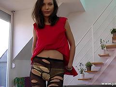 Amateur British babe in stockings..