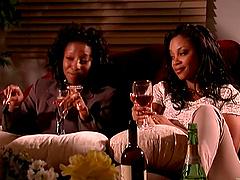 Ebony MILF lesbians enjoy toying their..